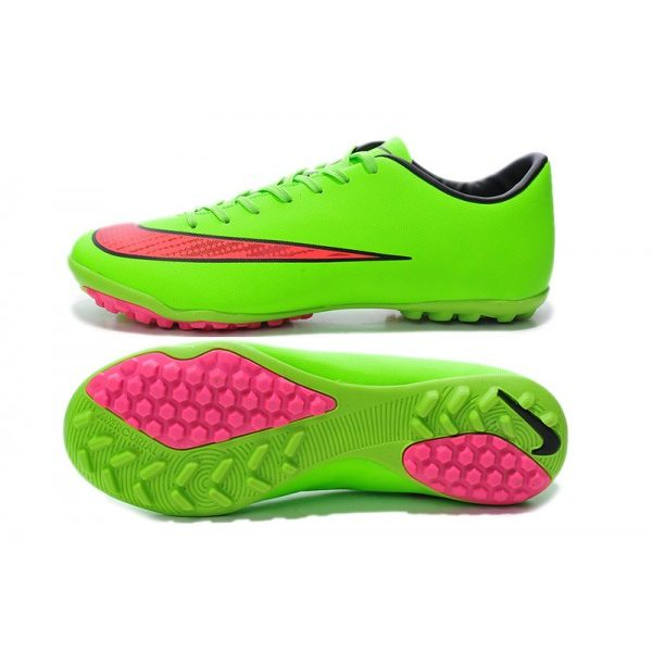 LATEST 2014 WORLD CUP NIKE MERCURIAL VICTORY TF X FOOTBALL BOOTS GREEN PINK 2d17f9b353